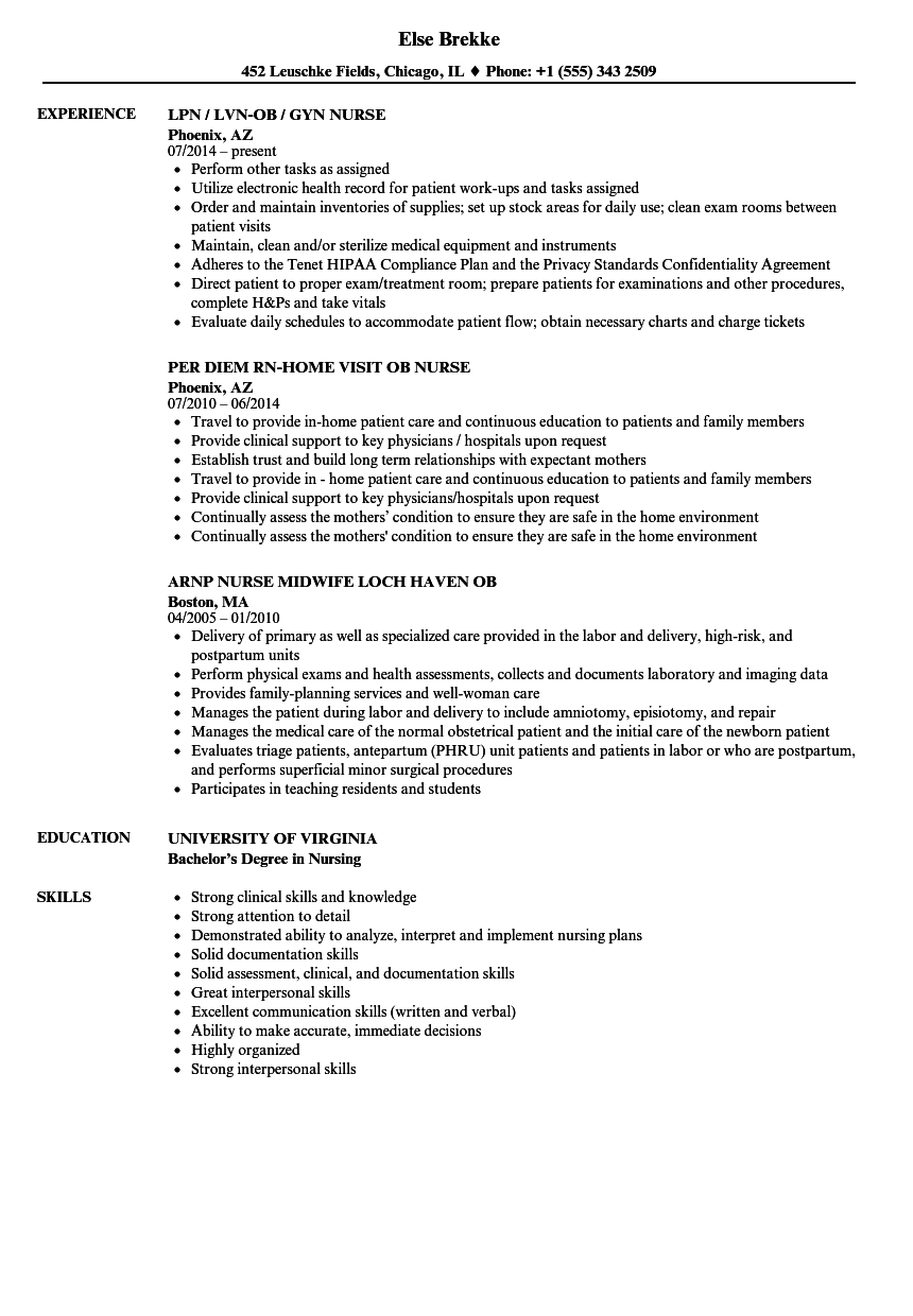 Pediatric Emergency Room Nurse Resume Sample