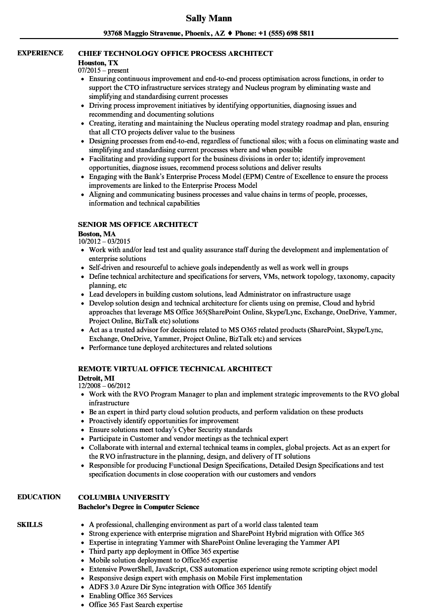 Gallery of Download Office Architect Resume Sample As Image File ...