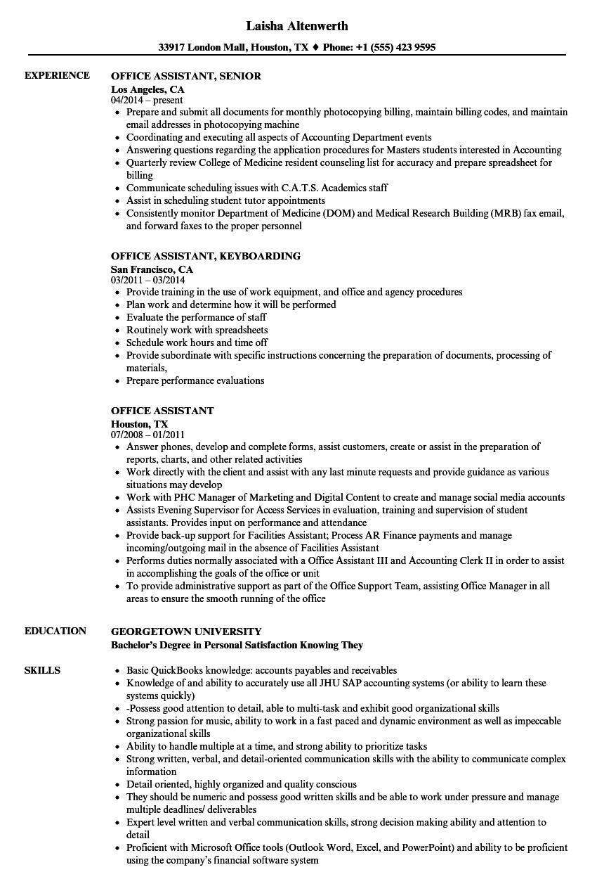 Office Assistant Resume Samples  Velvet Jobs