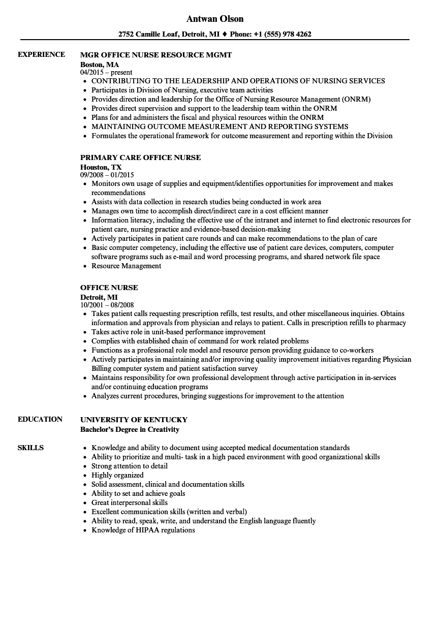 Office Nurse Resume Samples Velvet Jobs
