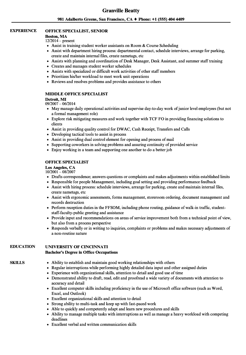Office Specialist Resume Samples Velvet Jobs