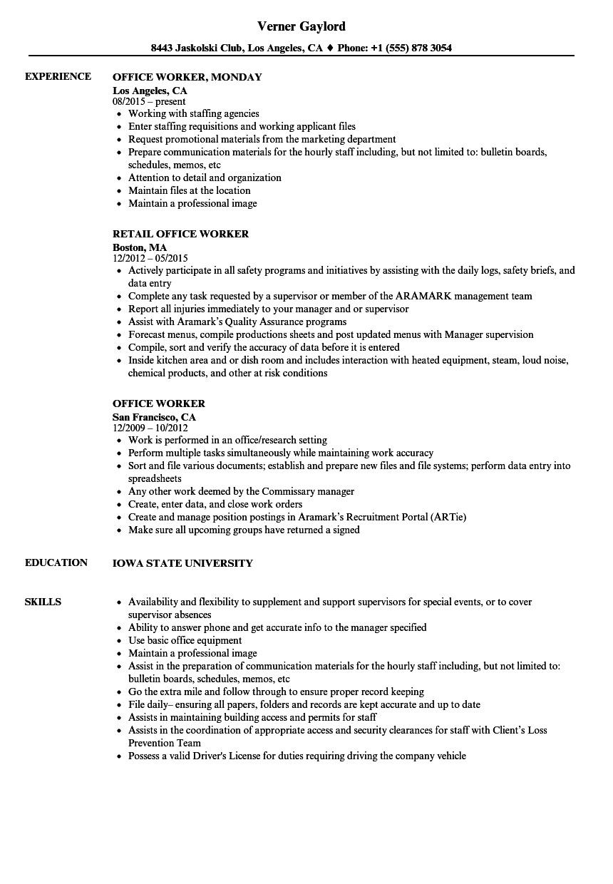 Office Worker Resume Samples Velvet Jobs