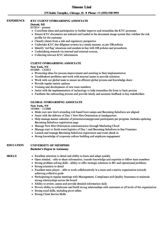 Onboarding Associate Resume Samples Velvet Jobs