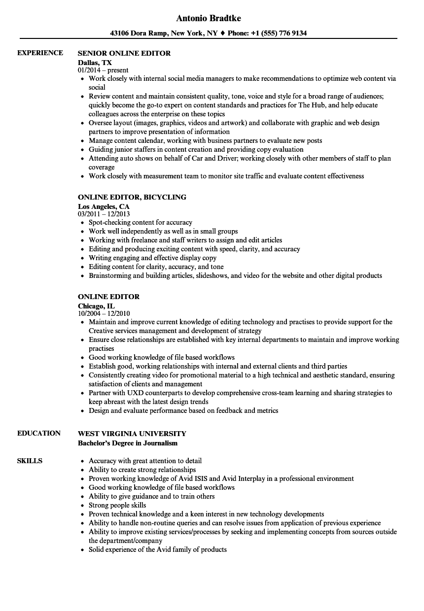 resume for assignment editor