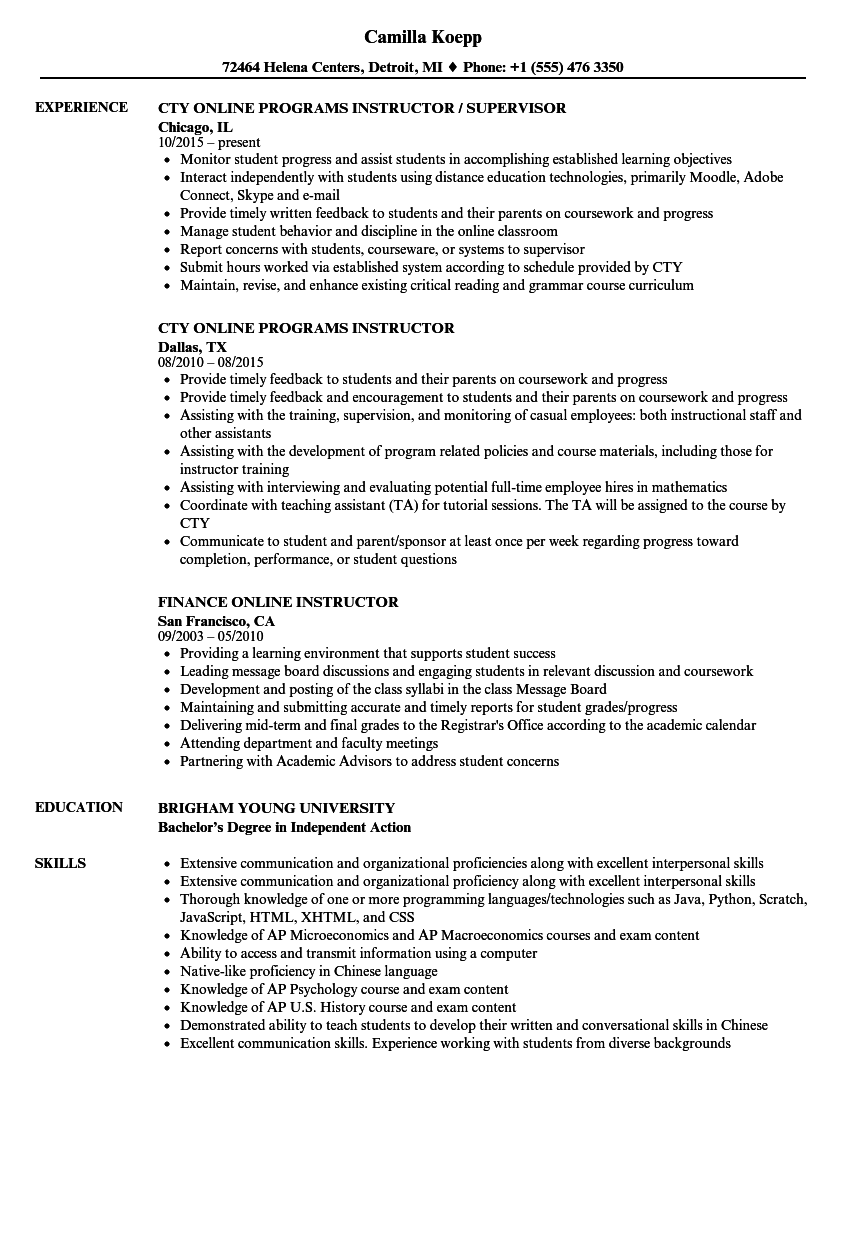 Online Instructor Resume Samples Velvet Jobs