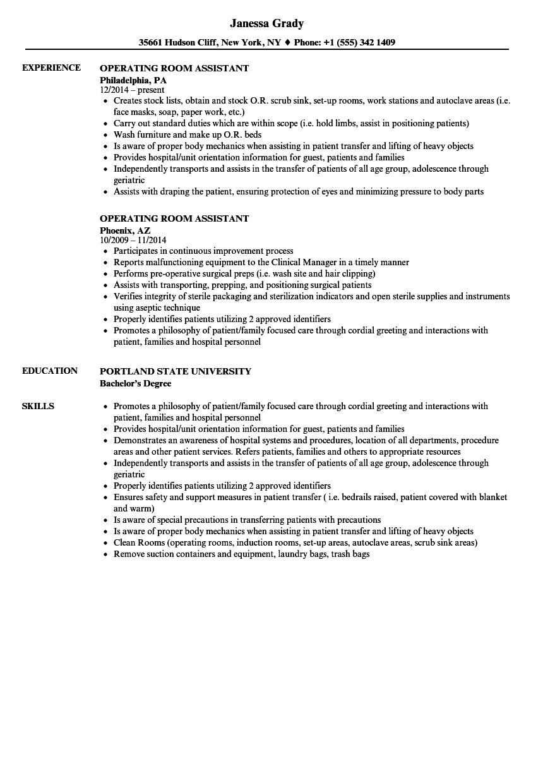Operating Room Assistant Resume Samples Velvet Jobs