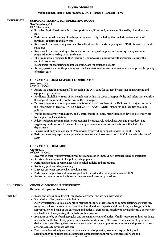 operating room technician resume sample