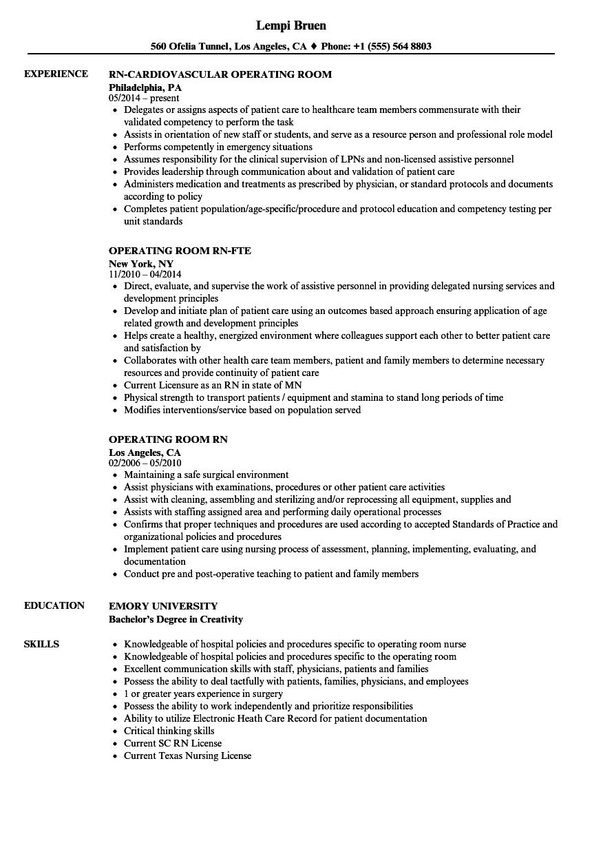 Operating Room RN Resume Samples Velvet Jobs