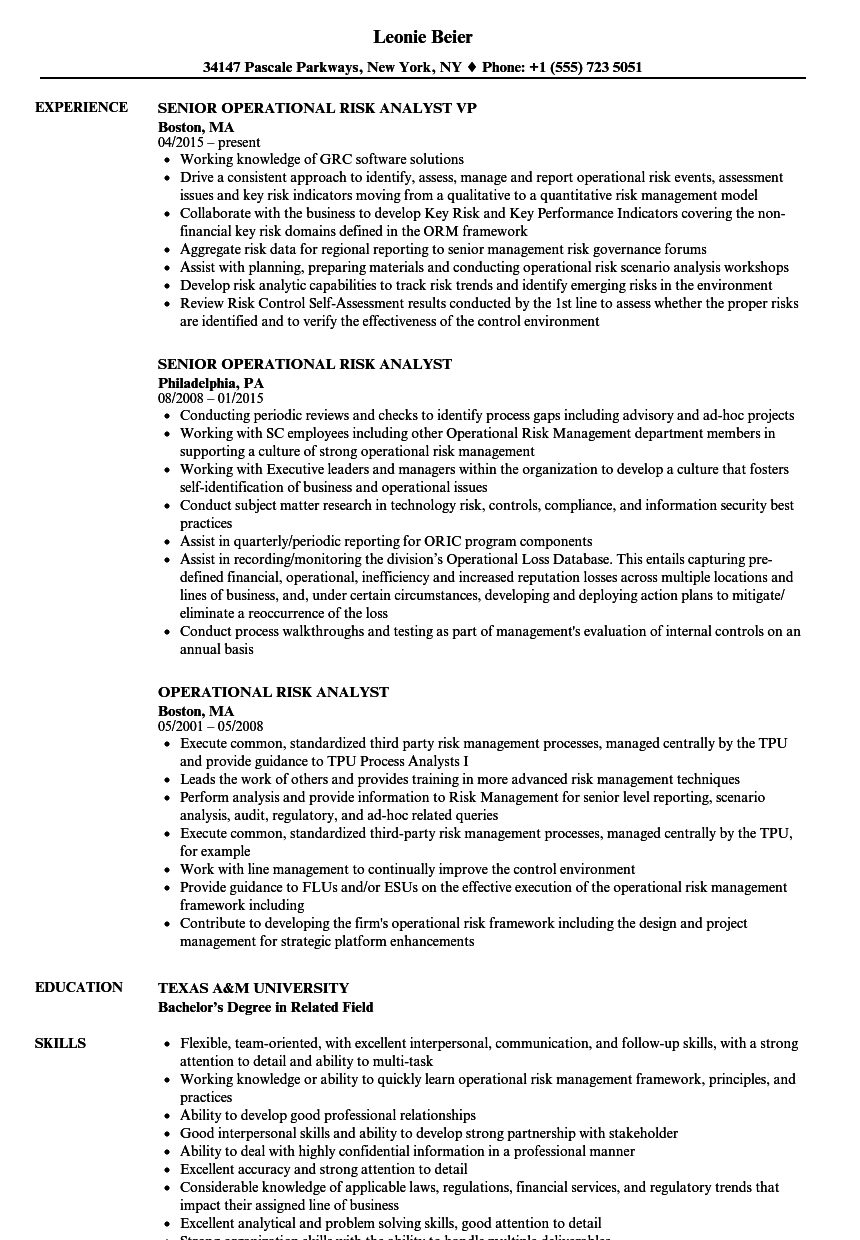 Operational Risk Analyst Resume Samples Velvet Jobs