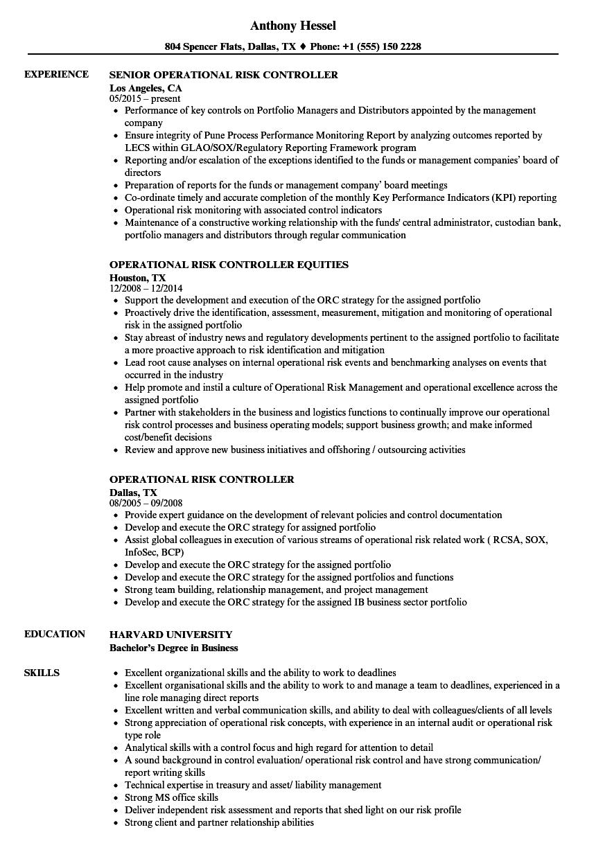 Operational Risk Controller Resume Samples Velvet Jobs