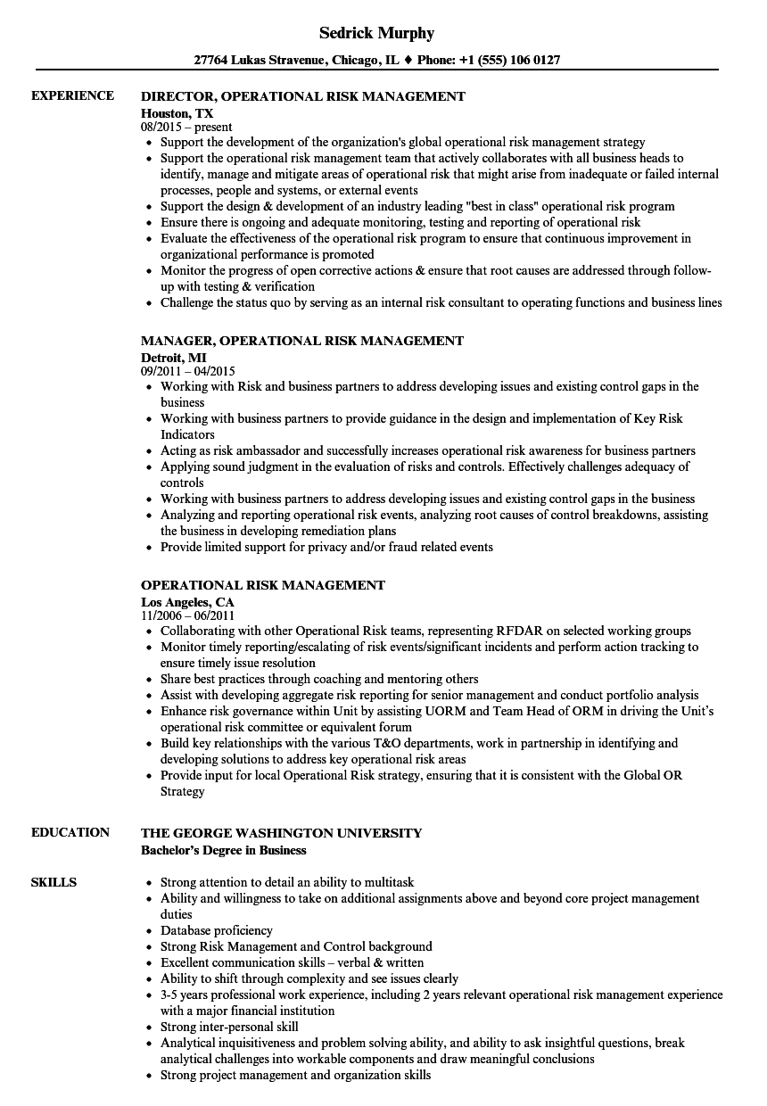 Operational Risk Management Resume Samples  Velvet Jobs