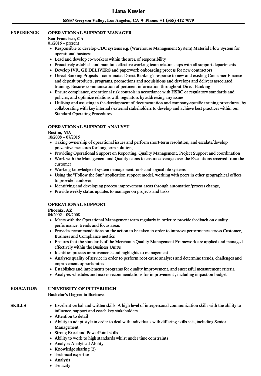 Operational Support Resume Samples Velvet Jobs