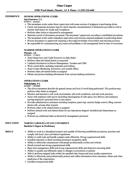 Operations Clerk Resume Samples | Velvet Jobs