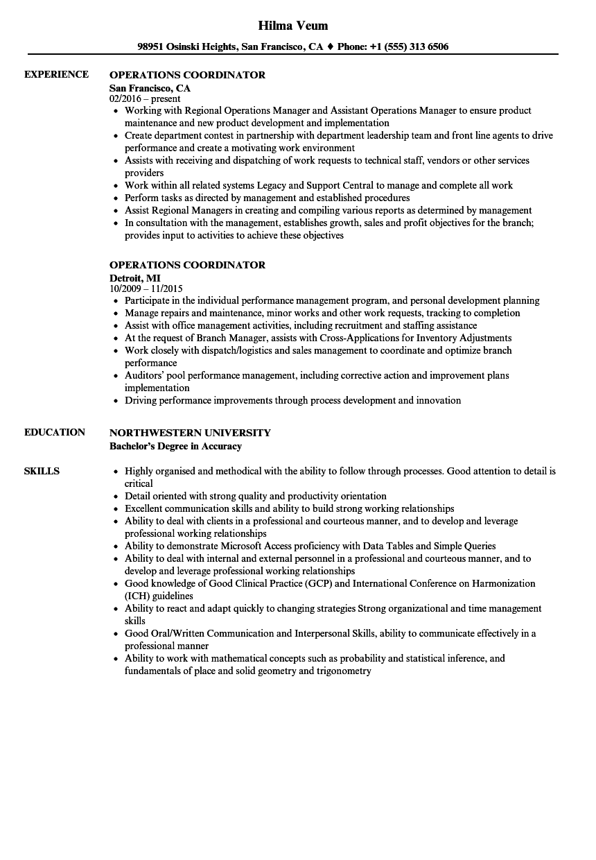 Operations Coordinator Resume Samples Velvet Jobs