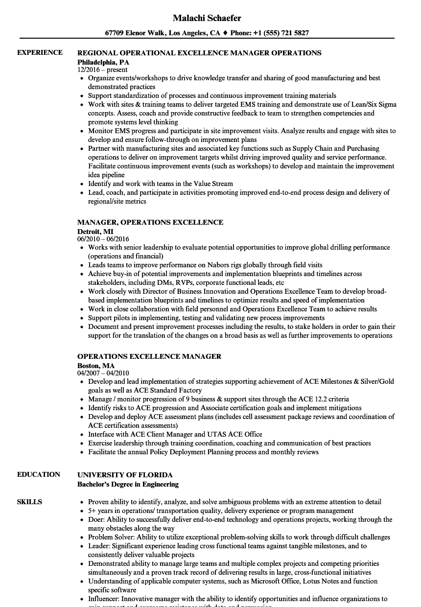 operational excellence resume examples