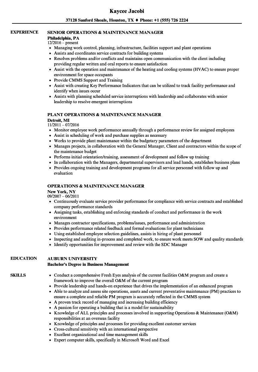 Factory maintenance manager resume August 2020