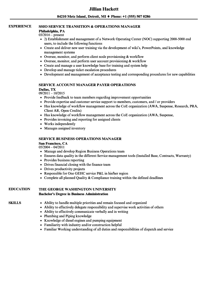 What do you put on a resume when management is why you left?. Operations Service Manager Resume Samples Velvet Jobs