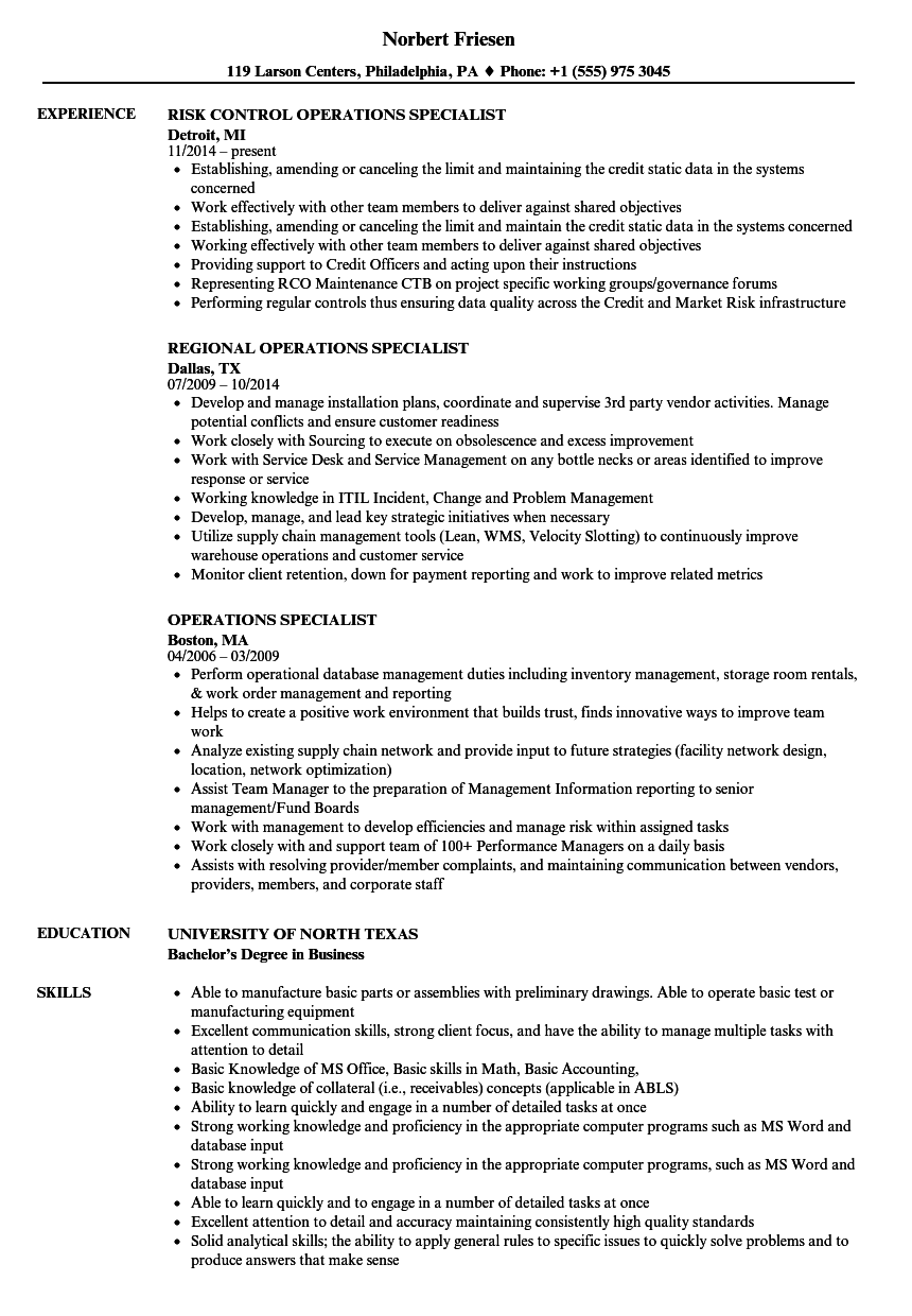 Operations Specialist Resume Samples  Velvet Jobs