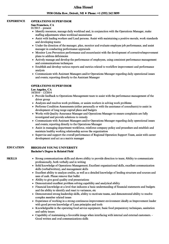 Operations Supervisor Resume Samples Velvet Jobs