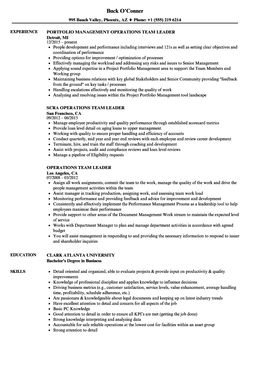 Operations Team Leader Resume Samples Velvet Jobs  Team Leader Resume