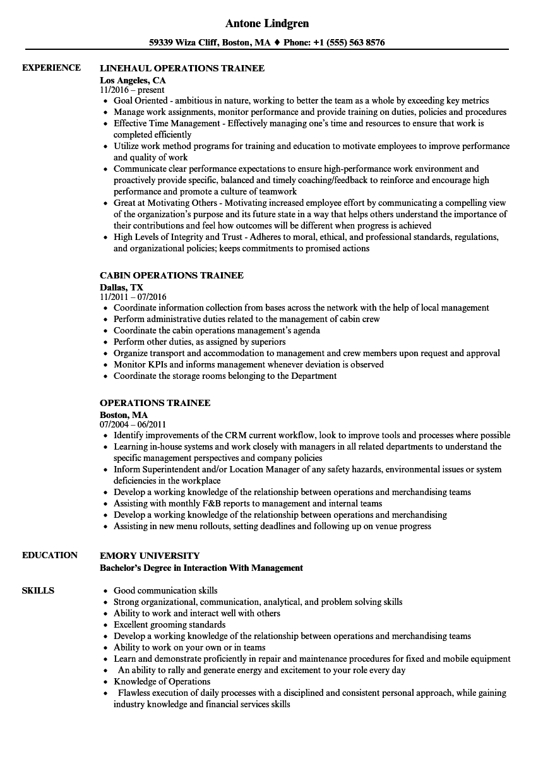 sample resume management trainee