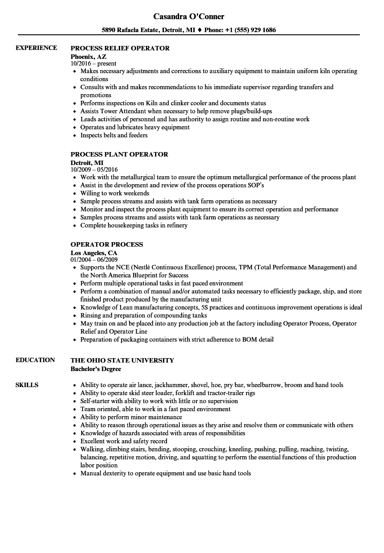 process technician resume examples