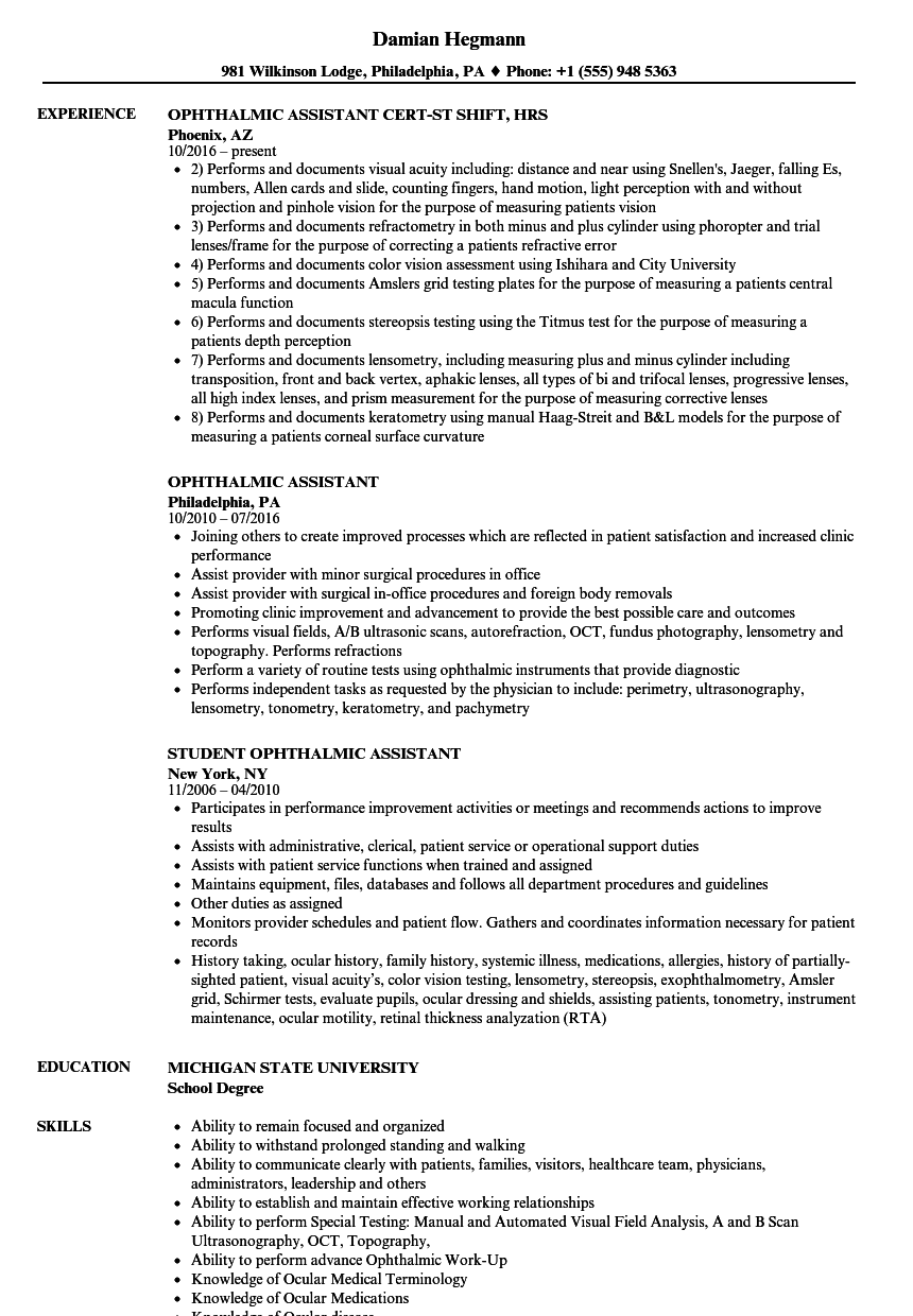 resume examples ophthalmic technician