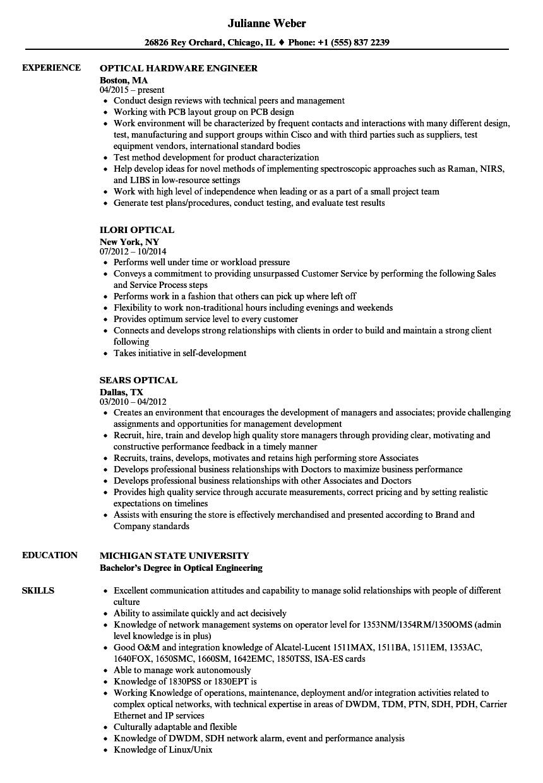optical engineer resume sample