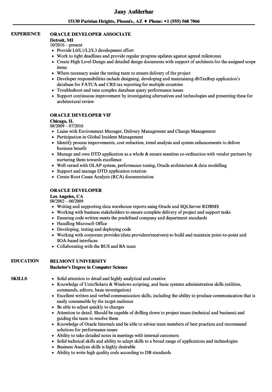 oracle developer resume sample