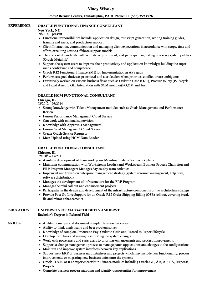 Oracle Functional Consultant Resume Samples Velvet Jobs