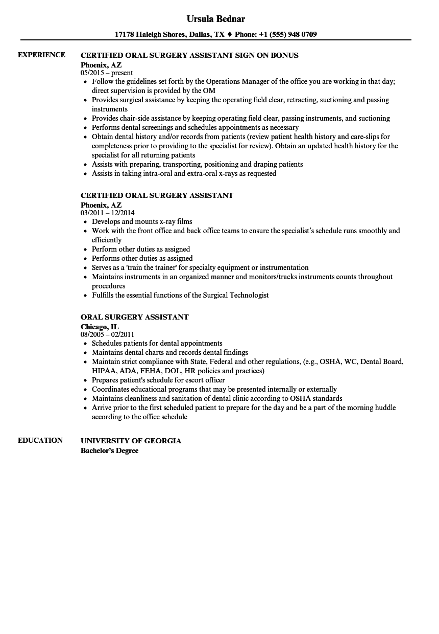 Oral Surgery Assistant Resume Samples  Velvet Jobs