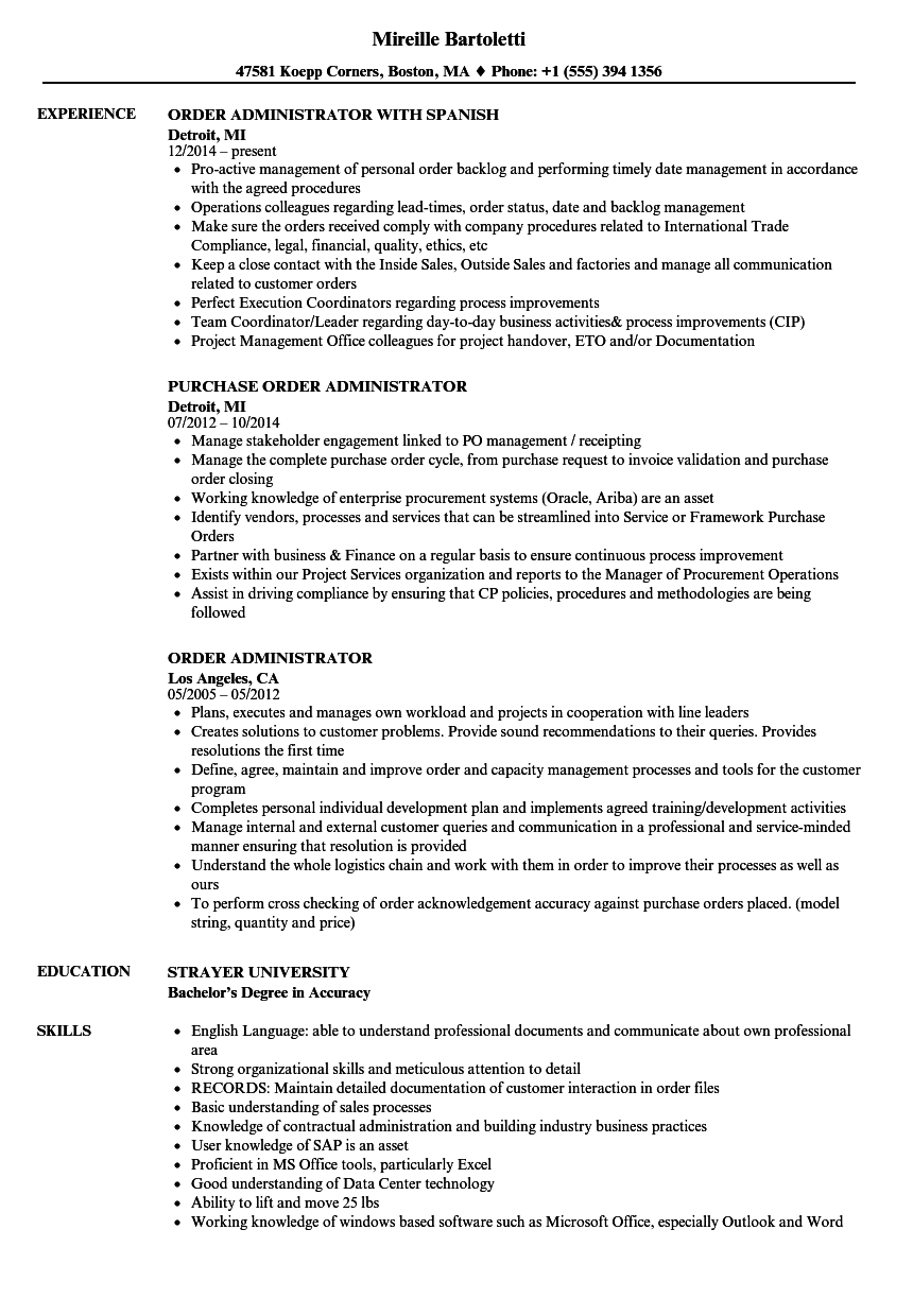 Download Order Administrator Resume Sample As Image File