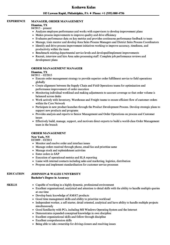 order processing resume sample
