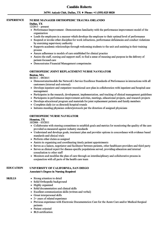 Download Orthopedic Nurse Resume Sample As Image File