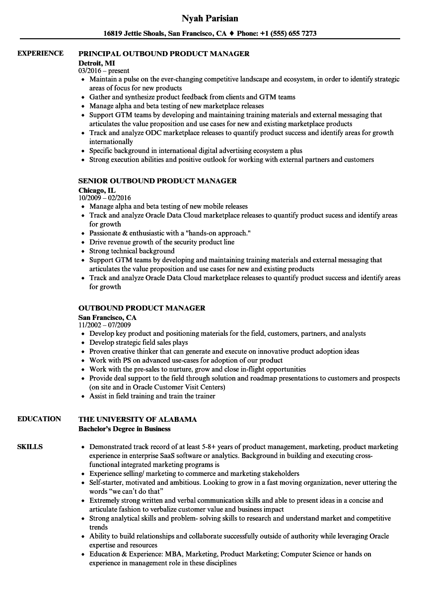 Product Marketing Manager Resume Example - Examples of Resumes