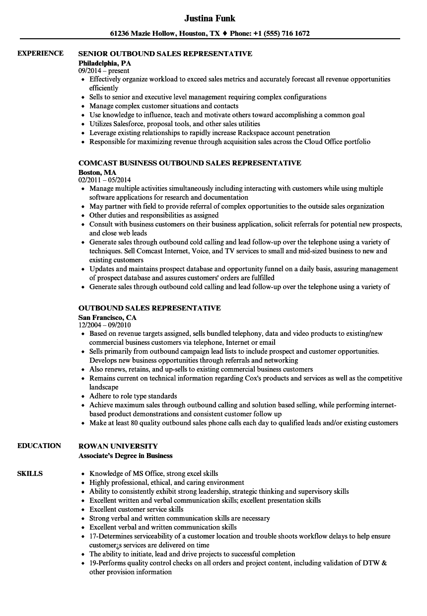 Outbound Sales Representative Resume Samples Velvet Jobs
