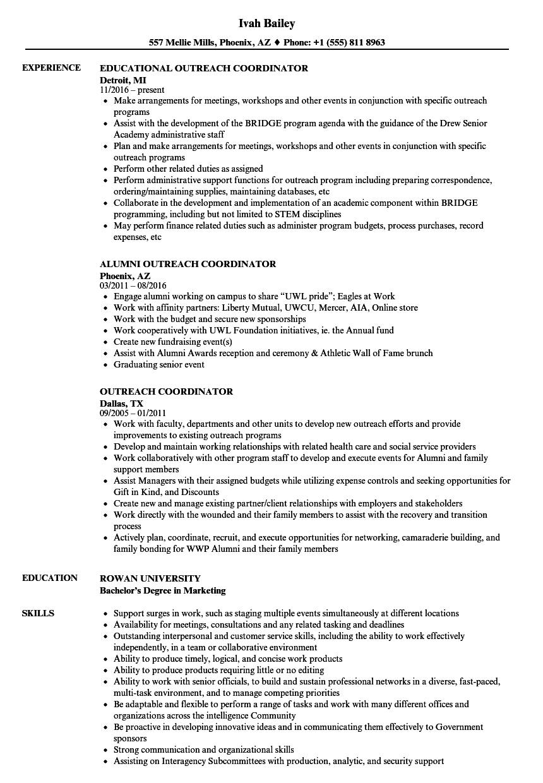 Outreach Coordinator Resume Samples Velvet Jobs