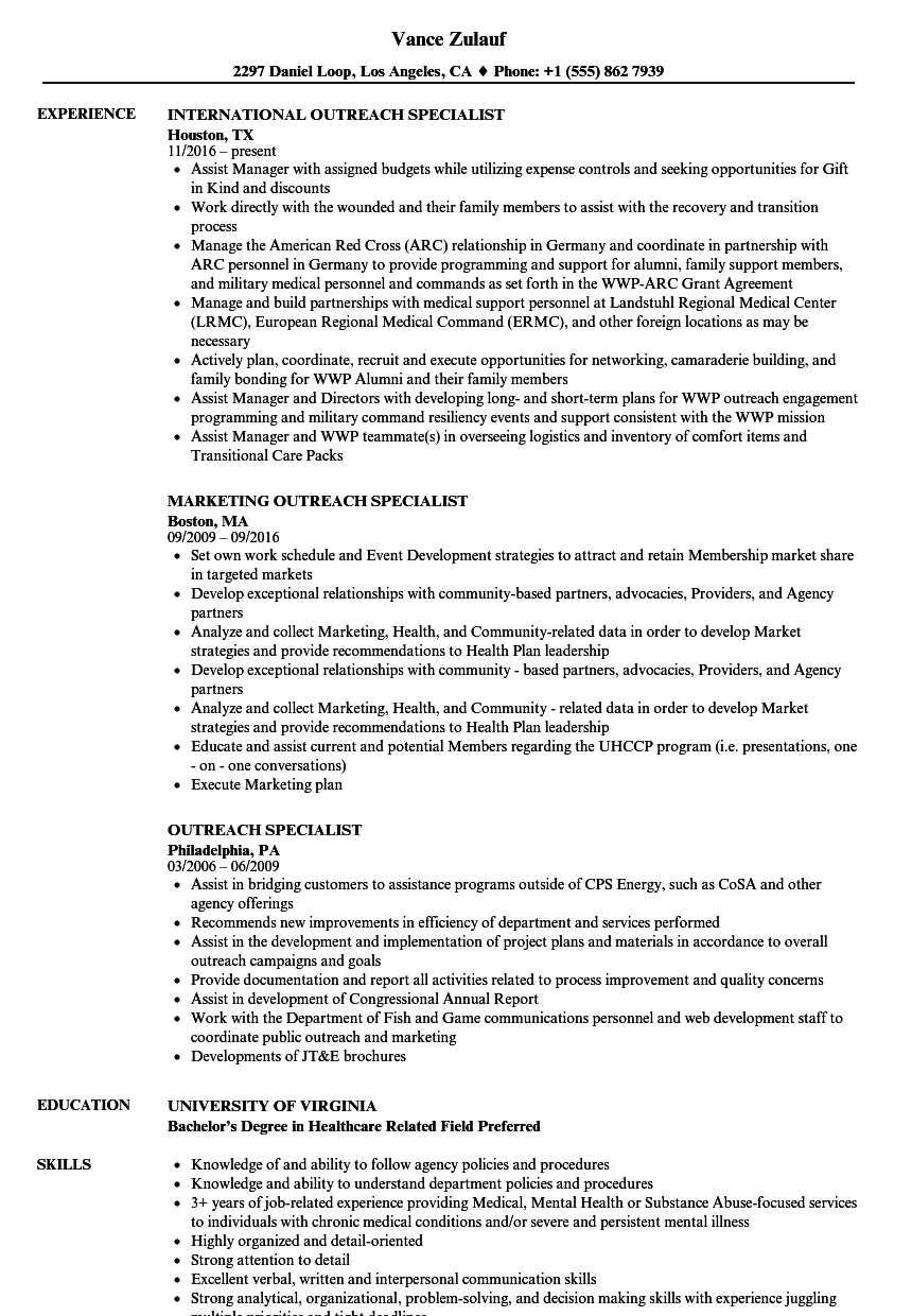Outreach Specialist Resume Samples  Velvet Jobs