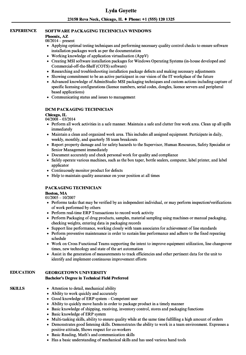 Packaging Technician Resume Samples Velvet Jobs