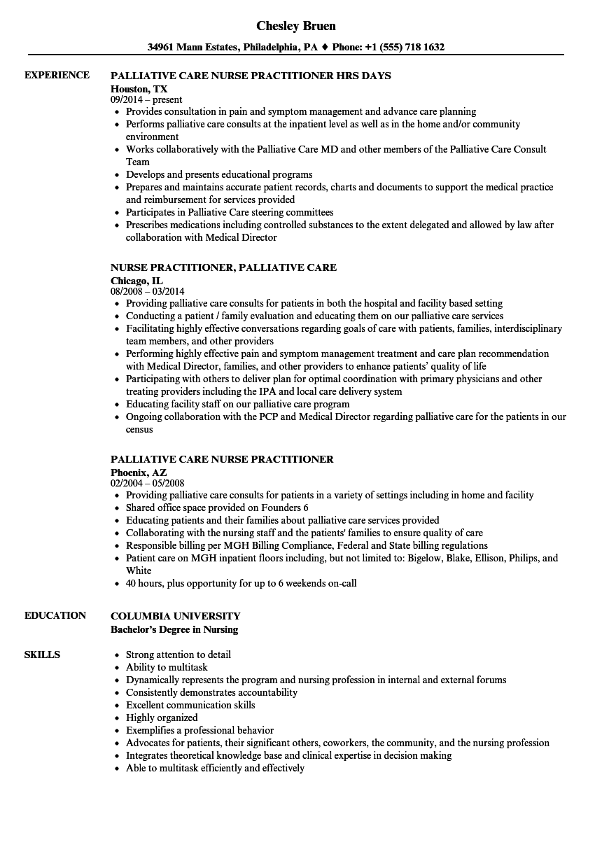 Download Palliative Care Nurse Practitioner Resume Sample As Image File