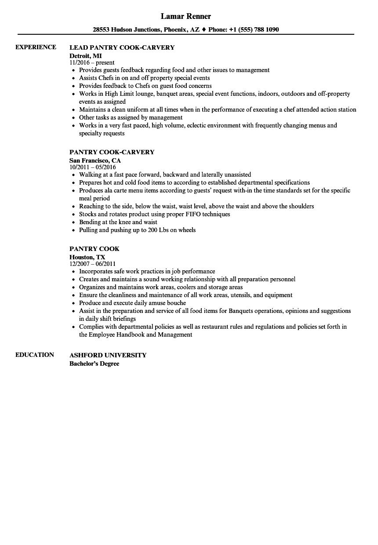 Download Pantry Cook Resume Sample As Image File