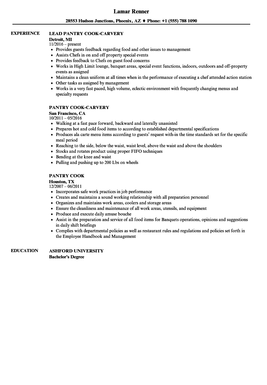 resume example for pantry cook