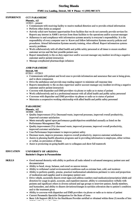 Paramedic Resume Samples | Velvet Jobs
