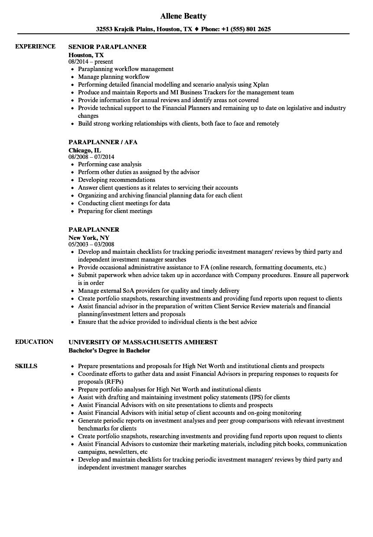 Paraplanner Resume Samples  Velvet Jobs
