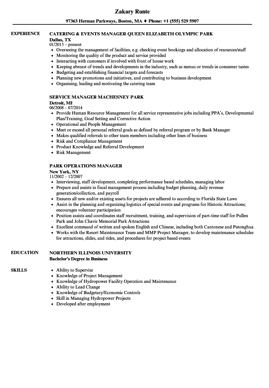 sample resume park maintenance