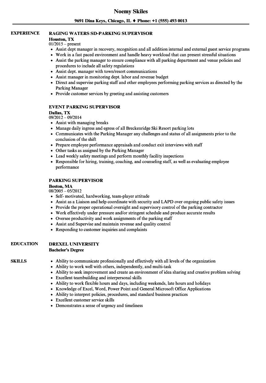 resume samples for valet parking