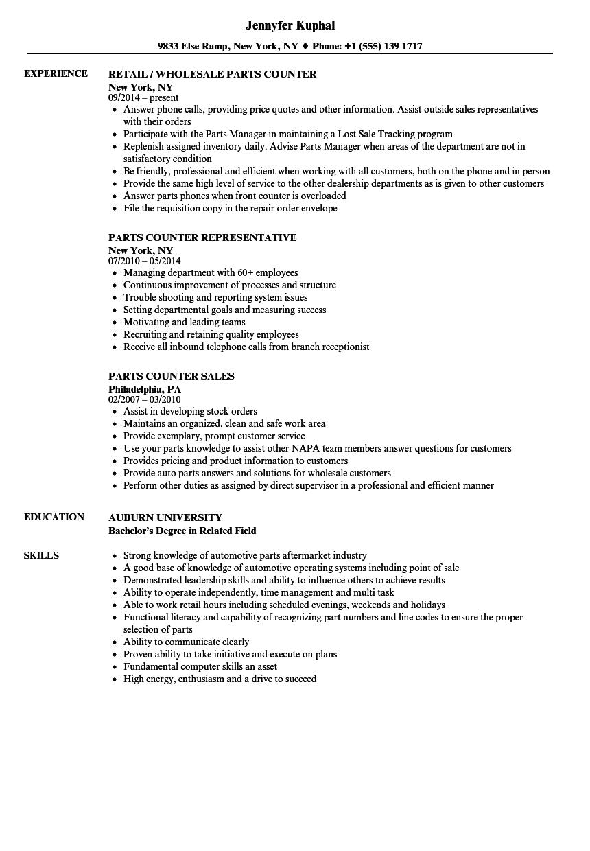 sample dealership parts manager resume