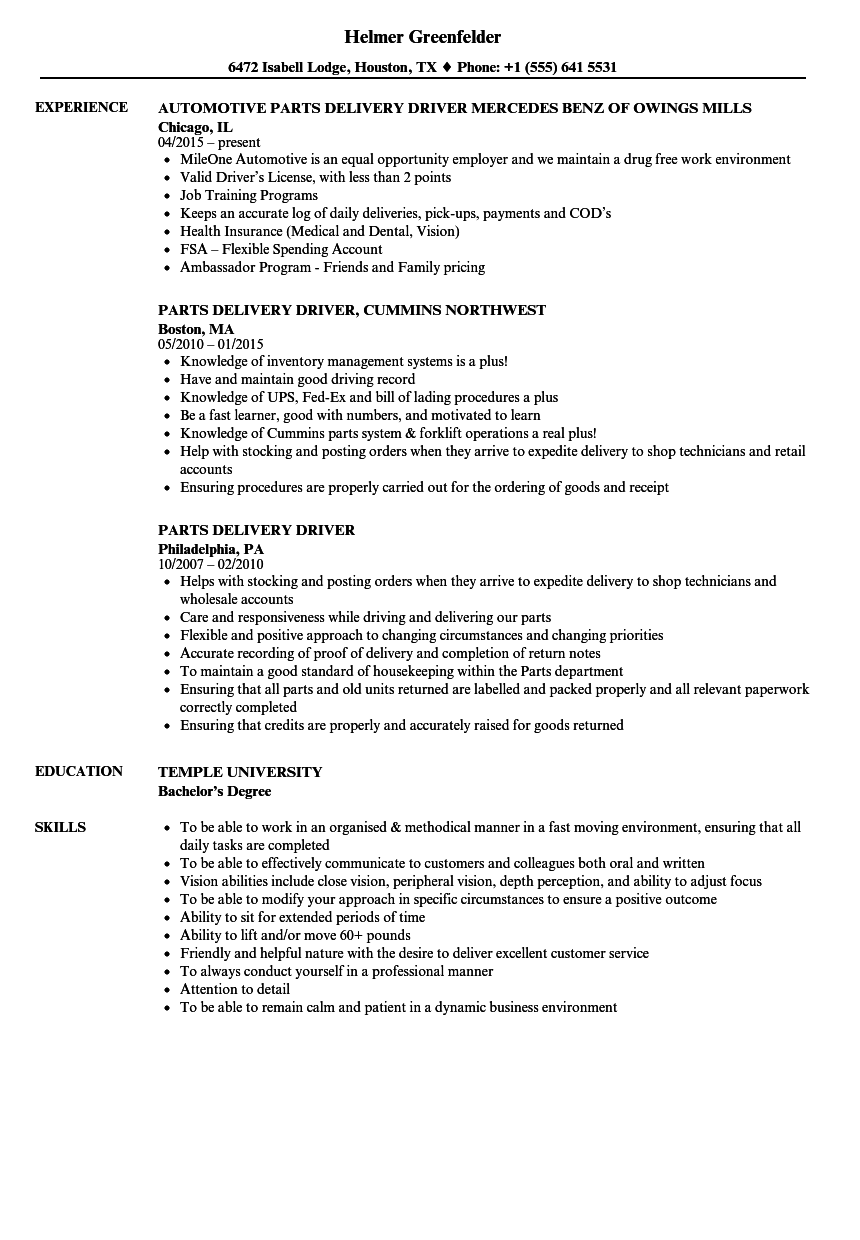 Parts Delivery Driver Resume Samples Velvet Jobs