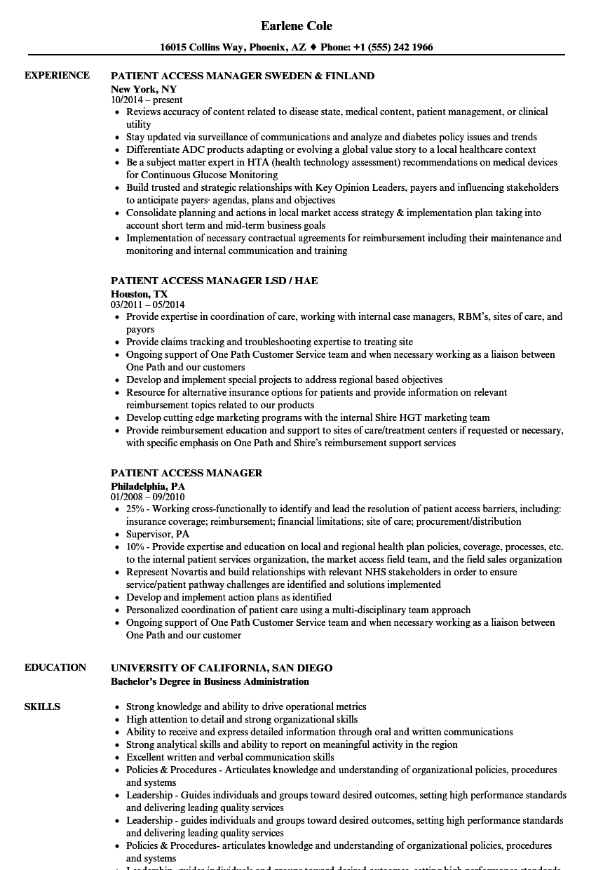Patient Access Manager Resume Samples Velvet Jobs