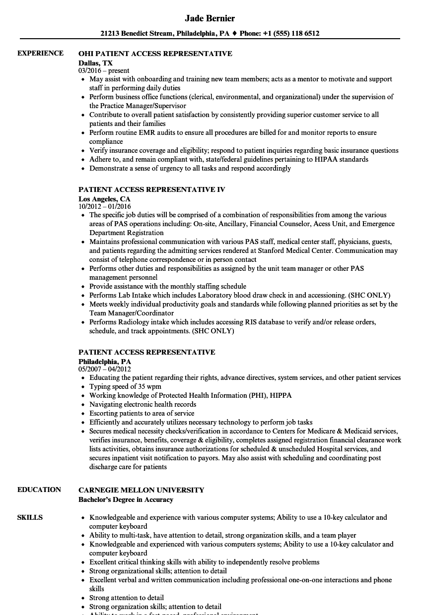 resume summary examples for patient service representative